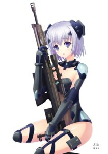 Rating: Safe Score: 41 Tags: bodysuit cleavage dance_of_eternity date_a_live gun thighhighs tobiichi_origami User: sylver650