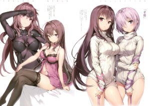 Rating: Questionable Score: 193 Tags: anmi bodysuit cleavage fate/grand_order lingerie mash_kyrielight megane_shoujo scathach_(fate/grand_order) sweater thighhighs User: Twinsenzw