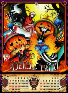 Rating: Safe Score: 9 Tags: brook calendar fishnets halloween nico_robin one_piece thighhighs tony_tony_chopper weapon User: f_levantein