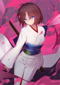 Rating: Safe Score: 24 Tags: fate/grand_order kara_no_kyoukai kimono langya_beike ryougi_shiki sword User: Mr_GT