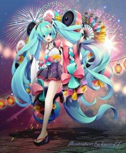 Rating: Safe Score: 15 Tags: cleavage hatsune_miku headphones japanese_clothes kyon-u magical_mirai thighhighs vocaloid User: Munchau