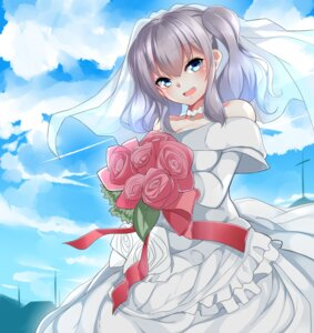 Rating: Safe Score: 28 Tags: cleavage dress kantai_collection kashima_(kancolle) nebu_soku wedding_dress User: Mr_GT
