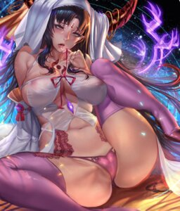 Rating: Questionable Score: 48 Tags: areola bra cameltoe fate/extra fate/extra_ccc fate/grand_order fate/stay_night gtunver horns no_bra nun pantsu see_through sessyoin_kiara stockings tattoo thighhighs User: Qpax