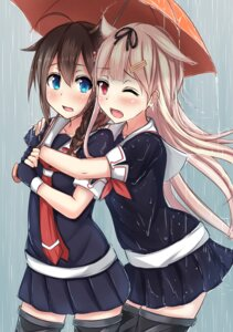 Rating: Safe Score: 56 Tags: kantai_collection seifuku shigure_(kancolle) tachihaya_hiro thighhighs umbrella wet wet_clothes yuudachi_(kancolle) User: KazukiNanako