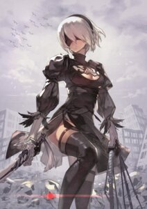 Rating: Safe Score: 78 Tags: cleavage dress katahira nier_automata sword thighhighs yorha_no.2_type_b User: Mr_GT