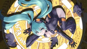 Rating: Safe Score: 52 Tags: 2d bodysuit cleavage hatsune_miku thighhighs vocaloid User: fairyren