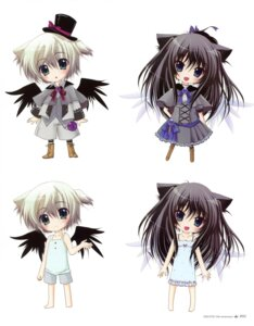 Rating: Safe Score: 18 Tags: animal_ears chibi dress hisuitei izumi_tsubasu wings User: crim