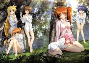 Rating: Questionable Score: 53 Tags: bottomless caro_ru_lushe cleavage dress_shirt fate_testarossa mahou_shoujo_lyrical_nanoha mahou_shoujo_lyrical_nanoha_strikers no_bra okuda_yasuhiro reinforce_zwei subaru_nakajima takamachi_nanoha teana_lanster yagami_hayate User: kriman