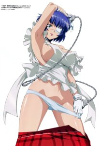 Rating: Questionable Score: 63 Tags: eyepatch ikkitousen miyazawa_tsutomu naked_apron pantsu panty_pull ryomou_shimei screening User: YamatoBomber