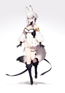 Rating: Questionable Score: 54 Tags: animal_ears asahi_nini cleavage dress garter nopan tail User: charunetra