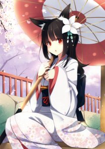 Rating: Safe Score: 82 Tags: animal_ears kimono kujou_ichiso umbrella User: Twinsenzw