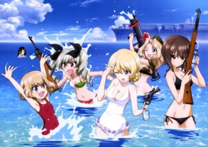 Rating: Safe Score: 53 Tags: anchovy bikini cleavage darjeeling girls_und_panzer gun katyusha kay_(girls_und_panzer) nishizumi_maho nonna swimsuits weapon wet User: drop