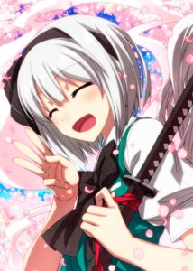 Rating: Safe Score: 20 Tags: konpaku_youmu sazanami_mio sword touhou User: Mr_GT