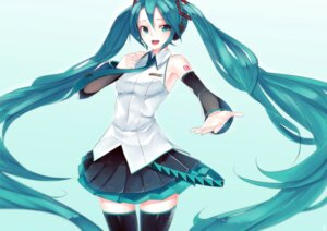 Rating: Safe Score: 21 Tags: hatsune_miku headphones junp tattoo thighhighs vocaloid User: charunetra