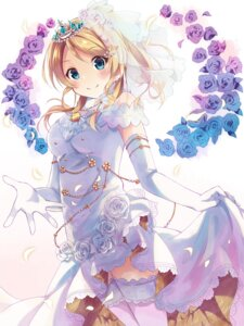 Rating: Safe Score: 87 Tags: ayase_eli dress love_live! nonono thighhighs wedding_dress User: Mr_GT