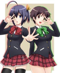 Rating: Safe Score: 9 Tags: chuunibyou_demo_koi_ga_shitai! fuuma_nagi heterochromia seifuku takanashi_rikka thighhighs tsuyuri_kumin User: shebang