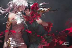 Rating: Safe Score: 52 Tags: blackbird(carciphona) carciphona dress shilin_huang sword veloce_visrin yuri User: animefan01