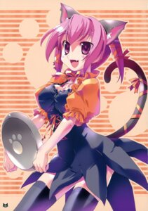 Rating: Safe Score: 22 Tags: animal_ears imu_sanjo nekomimi tail thighhighs waitress User: blooregardo