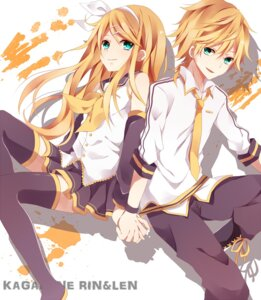 Rating: Safe Score: 26 Tags: kagamine_len kagamine_rin kouko thighhighs vocaloid User: shizukane