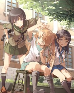 Rating: Questionable Score: 85 Tags: abukuma_(kancolle) kantai_collection kitakami_(kancolle) seifuku supertie ushio_(kancolle) User: fairyren