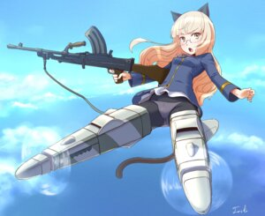 Rating: Questionable Score: 16 Tags: animal_ears gun megane nekomimi pantsu pantyhose perrine-h_clostermann strike_witches tail toshi User: Nekotsúh
