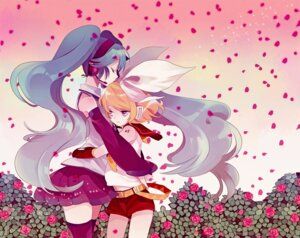 Rating: Safe Score: 20 Tags: amazawa_koma hatsune_miku kagamine_rin thighhighs vocaloid User: Radioactive