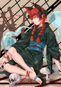 Rating: Safe Score: 16 Tags: kaenbyou_rin kimono kurohane sword touhou User: Mr_GT