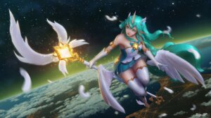 Rating: Safe Score: 29 Tags: animal_ears dress horns league_of_legends pointy_ears soraka thighhighs wallpaper weapon wings User: charunetra