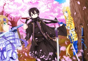 Rating: Safe Score: 24 Tags: alice_schuberg armor eugeo kirito mizuna_suki sword sword_art_online User: KazukiNanako