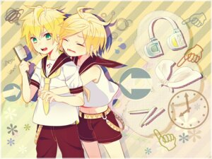 Rating: Safe Score: 7 Tags: headphones kagamine_len kagamine_rin keishi vocaloid User: charunetra