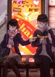 Rating: Safe Score: 24 Tags: megane pantyhose saito_(artist) seifuku sweater valentine User: mash