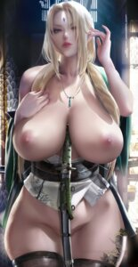 Rating: Questionable Score: 77 Tags: bottomless breasts japanese_clothes naruto nipples no_bra open_shirt sakimichan sword tattoo thighhighs tsunade User: BattlequeenYume