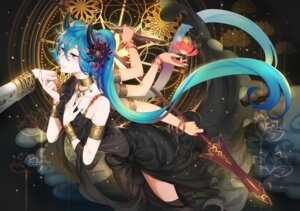 Rating: Safe Score: 39 Tags: dress hatsune_miku horns tagme thighhighs verus vocaloid weapon User: fairyren