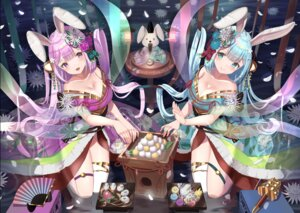 Rating: Questionable Score: 20 Tags: animal_ears bunny_ears cleavage garter japanese_clothes no_bra thighhighs wander00317_(akihirotanisi) wet User: BattlequeenYume