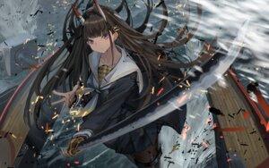 Rating: Questionable Score: 39 Tags: azur_lane garter horns noshiro_(azur_lane) pantyhose seifuku skirt_lift sword yu_ni_t User: yanis