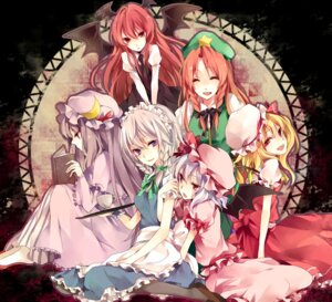 Rating: Safe Score: 26 Tags: flandre_scarlet hong_meiling izayoi_sakuya koakuma maid patchouli_knowledge remilia_scarlet touhou wings yuzuki_karu User: Nekotsúh