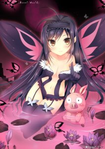 Rating: Questionable Score: 90 Tags: accel_world cleavage duji_amo haruyuki_arita kuroyukihime stockings thighhighs wet wings User: fairyren
