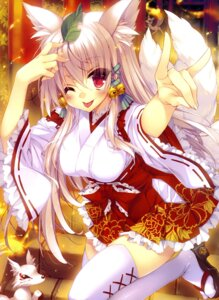 Rating: Safe Score: 62 Tags: animal_ears kitsune miko satsuki_misuzu tail thighhighs User: drop