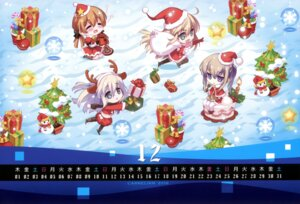 Rating: Questionable Score: 15 Tags: animal_ears bismarck_(kancolle) calendar carnelian chibi christmas dress horns kantai_collection pantyhose prinz_eugen_(kancolle) thighhighs User: fireattack
