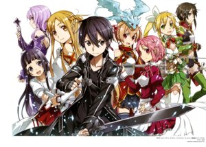 Rating: Safe Score: 32 Tags: abec armor asuna_(sword_art_online) cleavage dress kirito leafa lisbeth pina silica sword sword_art_online thighhighs weapon yui_(sword_art_online) User: drop