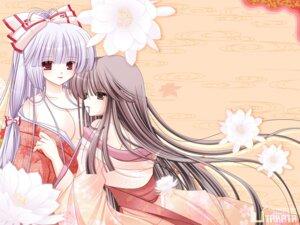 Rating: Questionable Score: 17 Tags: cleavage fujiwara_no_mokou hiyori-o houraisan_kaguya kimono touhou wallpaper User: blooregardo