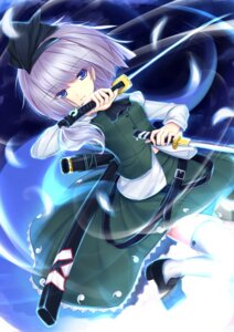 Rating: Safe Score: 32 Tags: konpaku_youmu scarlethy sword thighhighs touhou User: itsu-chan