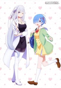 Rating: Safe Score: 99 Tags: cleavage dress emilia_(re_zero) heels pantyhose pointy_ears re_zero_kara_hajimeru_isekai_seikatsu rem_(re_zero) sakai_kyuuta seifuku sweater User: drop