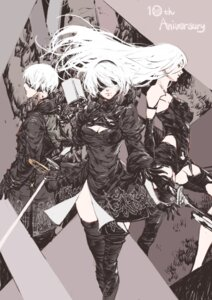 Rating: Safe Score: 16 Tags: cleavage dress kazama_raita mecha_musume nier_automata sword thighhighs yorha_no.2_type_b yorha_no._9_type_s yorha_type_a_no._2 User: Genex