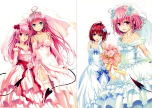 Rating: Questionable Score: 77 Tags: crease dress kurosaki_mea lala_satalin_deviluke momo_velia_deviluke nana_asta_deviluke stockings tail thighhighs to_love_ru wedding_dress yabuki_kentarou User: fireattack