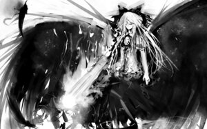 Rating: Safe Score: 14 Tags: hinomaru_(artist) monochrome reiuji_utsuho sword touhou wallpaper wings User: flying19880517