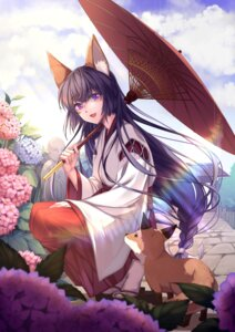Rating: Safe Score: 36 Tags: animal_ears japanese_clothes jh_(artist) umbrella User: Mr_GT