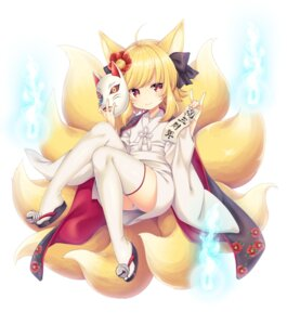 Rating: Safe Score: 94 Tags: animal_ears inari_(sennen_sensou_aigis) japanese_clothes kitsune pantsu sennen_sensou_aigis shura_no_suke tail thighhighs User: Mr_GT