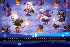 Rating: Safe Score: 25 Tags: calendar carnelian chibi dress halloween horns kantai_collection northern_ocean_hime pantyhose seaport_hime sendai_(kancolle) thighhighs wings witch User: fireattack