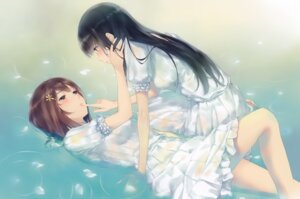 Rating: Safe Score: 45 Tags: dress flowers innocent_grey kousaka_mayuri shirahane_suou sugina_miki wet wet_clothes yuri User: Hatsukoi